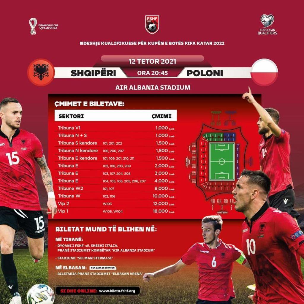 Dalin në shitje biletat, FSHF vendos sërish çmime të shtrenja për ndeshjen Shqipëri-Poloni